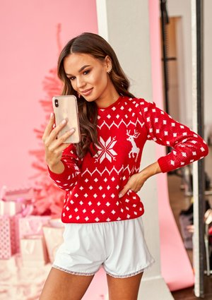 RED WINTER SWEATER WITH DEERS ILM A44