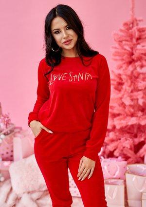 """Bluza z weluru """"Love Santa"""" Czerwona ILM"""