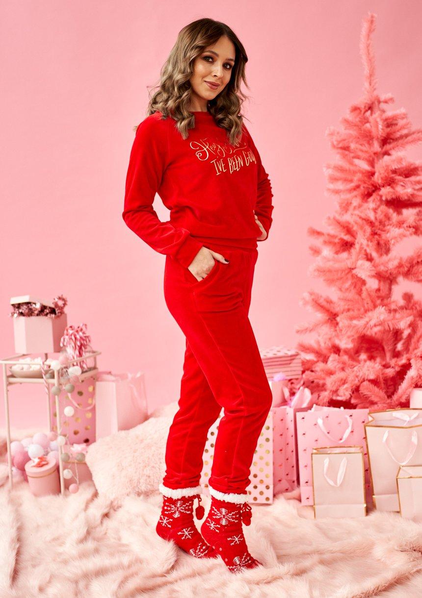"""Bluza z weluru """"Hey Santa.."""" Czerwona ILM"""