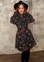 Rozpinana sukienka z kołnierzem Print