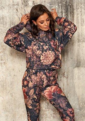 Bluza z kieszenią i kapturem w kwiaty Miodowa