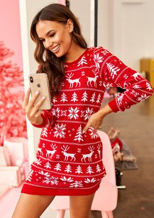 RED SWEATER TUNIC WINTER TIME ILM