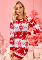 Swetrowa tunika winter deer czerwona ILM