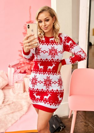 RED SWEATER TUNIC WINTER DEERS ILM