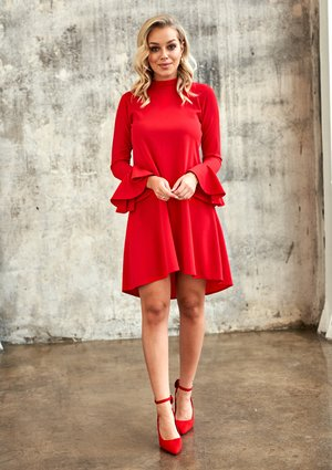 RED A-LINE DRESS WITH FRILL SLEEVES