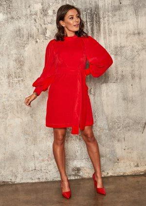 RED VELVET DRESS WITH BELL SLEEVES