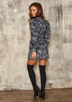 Welurowa sukienka z paskiem Print