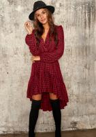 Asymetryczna sukienka z wiskozy w Kratkę
