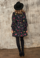 Rozpinana sukienka z kołnierzem w kwiatowy Print
