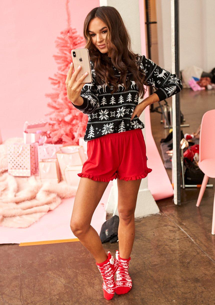 Bawełniane szorty piżamowe Czerwone ILM
