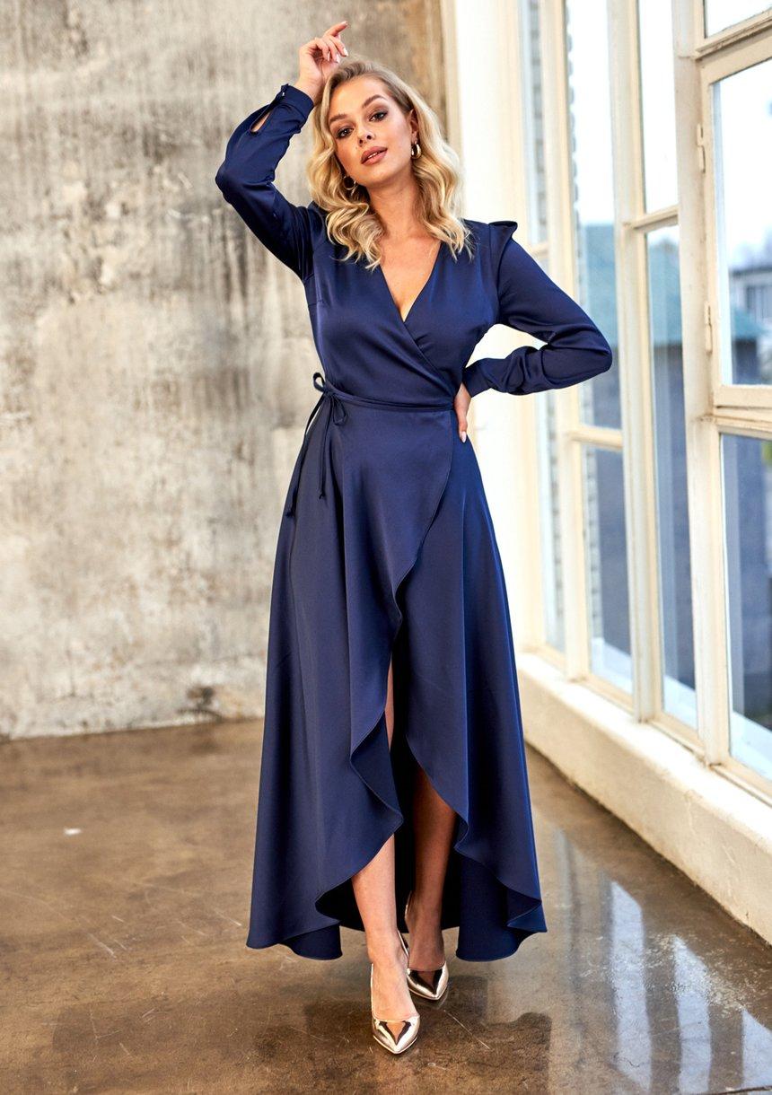 Kopertowa sukienka z asymetrią Premium Granatowa