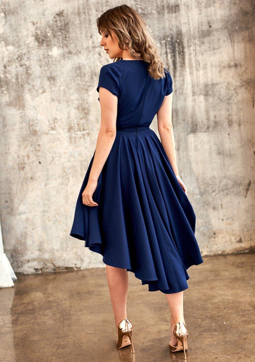 Sukienka Premium z półtora koła Granatowa