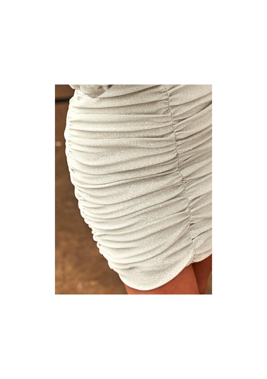 Dopasowana sukienka z marszczeniem Srebrna