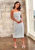 Sukienka midi na ramiączkach Srebrna