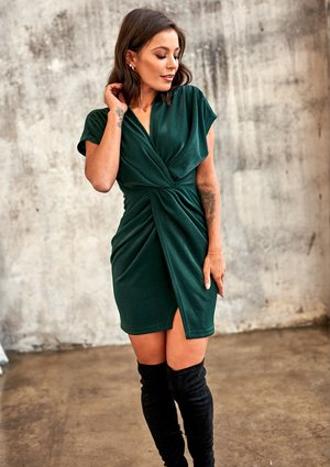 MINI DRAPE WRAP DRESS IN GREEN