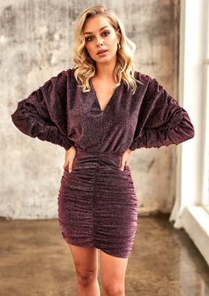 PLUM MINI DRESS WITH DRAPE SKIRT