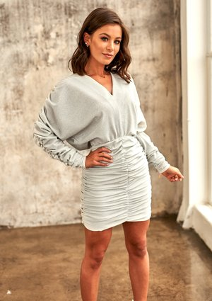 SILVER MINI DRESS WITH DRAPE SKIRT