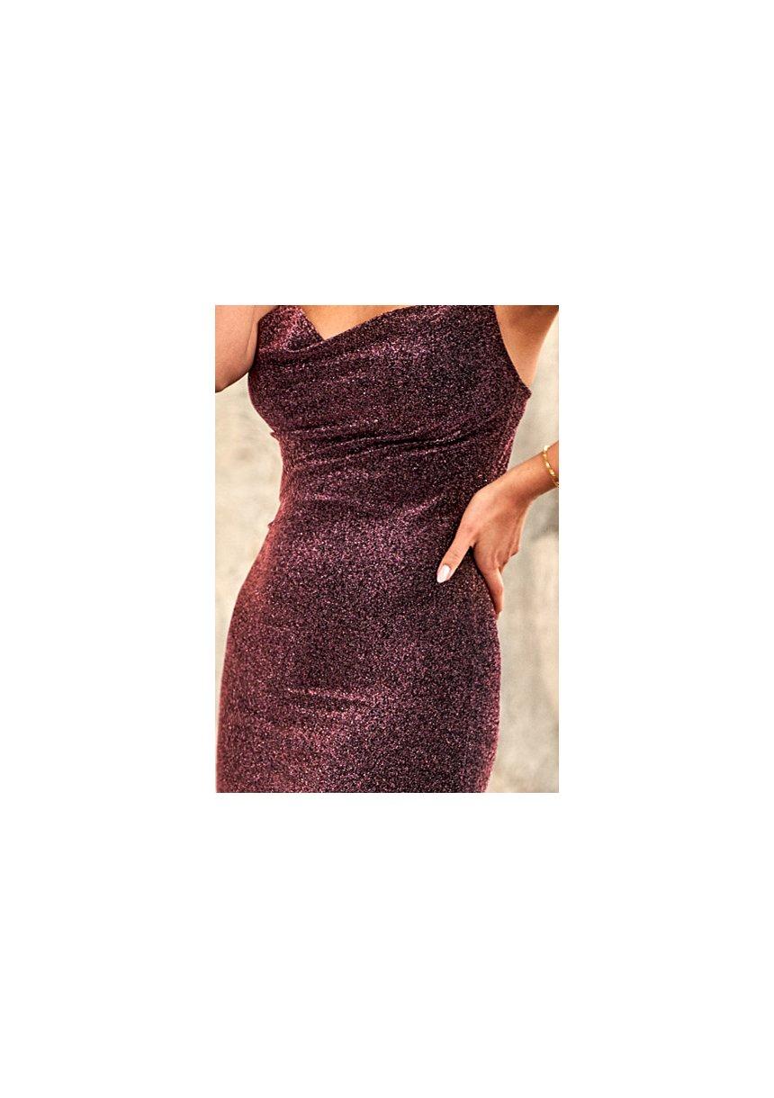 Sukienka midi na ramiączkach Antyczny Róż