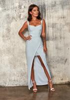 Srebrna dopasowana sukienka Maxi