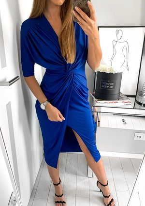 INDIGO BODYCON DRESS WITH TIE FRONT