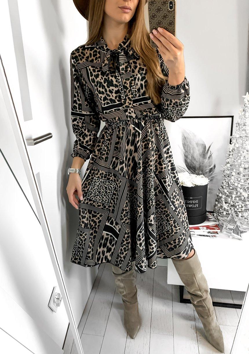 Sukienka midi z wiązaniem Patchwork Wild