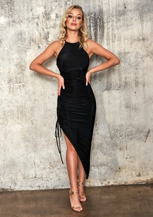 BLACK BODYCON DRESS WIT ASYMMETRIC BOTTOM