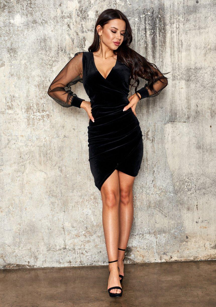 Welurowa sukienka z rękawem z siatki Czarna
