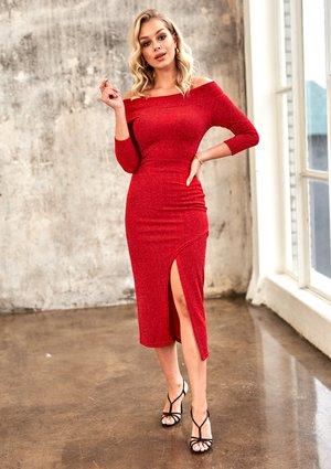 Sukienka midi z odkrytymi ramionami Czerwona