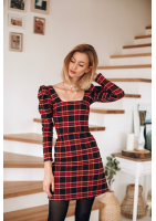 Sukienka z bufką w rękawie w kratkę Czerwona