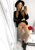Sweter z rękawem ażurowym A41 Czarny ILM