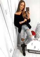 Sweter oversize z dekoltem V A006 Czarny ILM