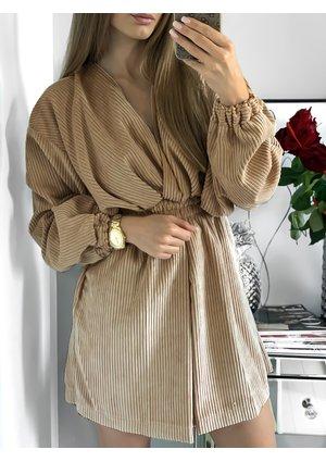 Kopertowa sukienka ze sztruksu Beżowa