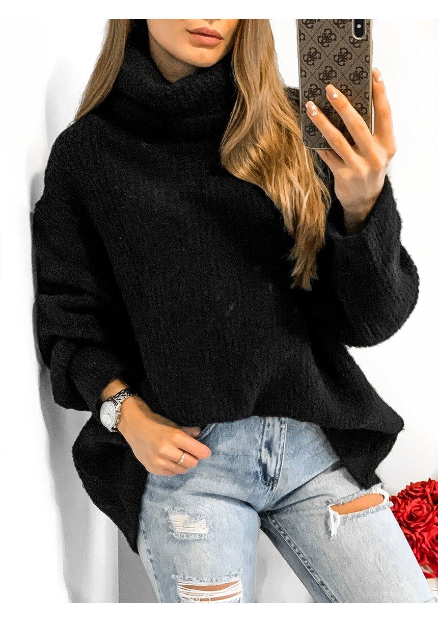 Sweter z golfem oversize A007 Czarny ILM