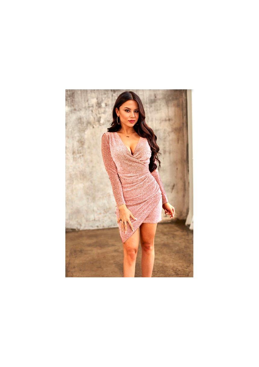 Asymetryczna sukienka z drapowaniem Shine Pudrowa