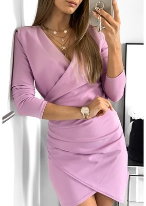 BODYCON ASYMMETRIC DRESS IN VIOLET COLOR