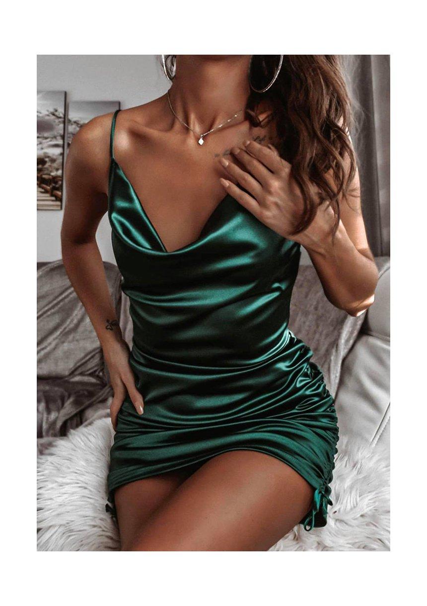 Sukienka z satyny Mini Zielona