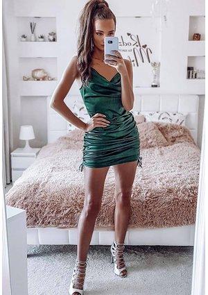 GREEN SATIN MINI DRESS
