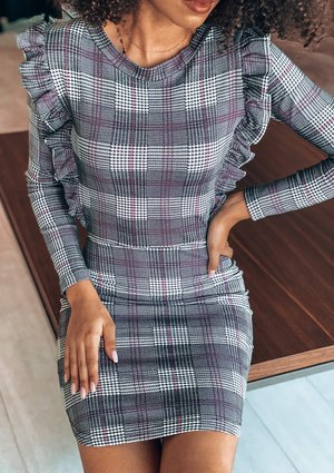 PINK CHECK BODYCON DRESS