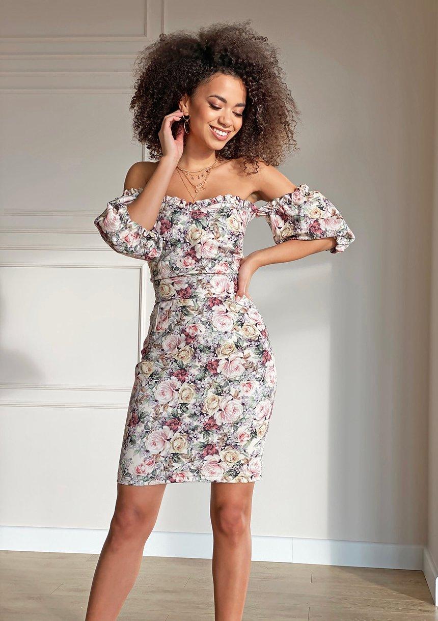 Sukienka o gorsetowym kroju Powder flowers