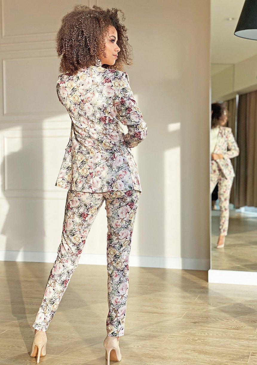 Klasyczne spodnie powder Flowers print