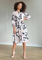 Sukienka midi z wiązaniem Print