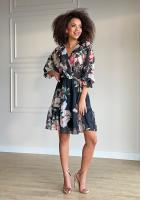 Sukienka z szyfonu w kwiaty Czarna