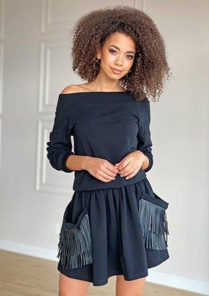 Sukienka z bawełny z frędzlami Czarna