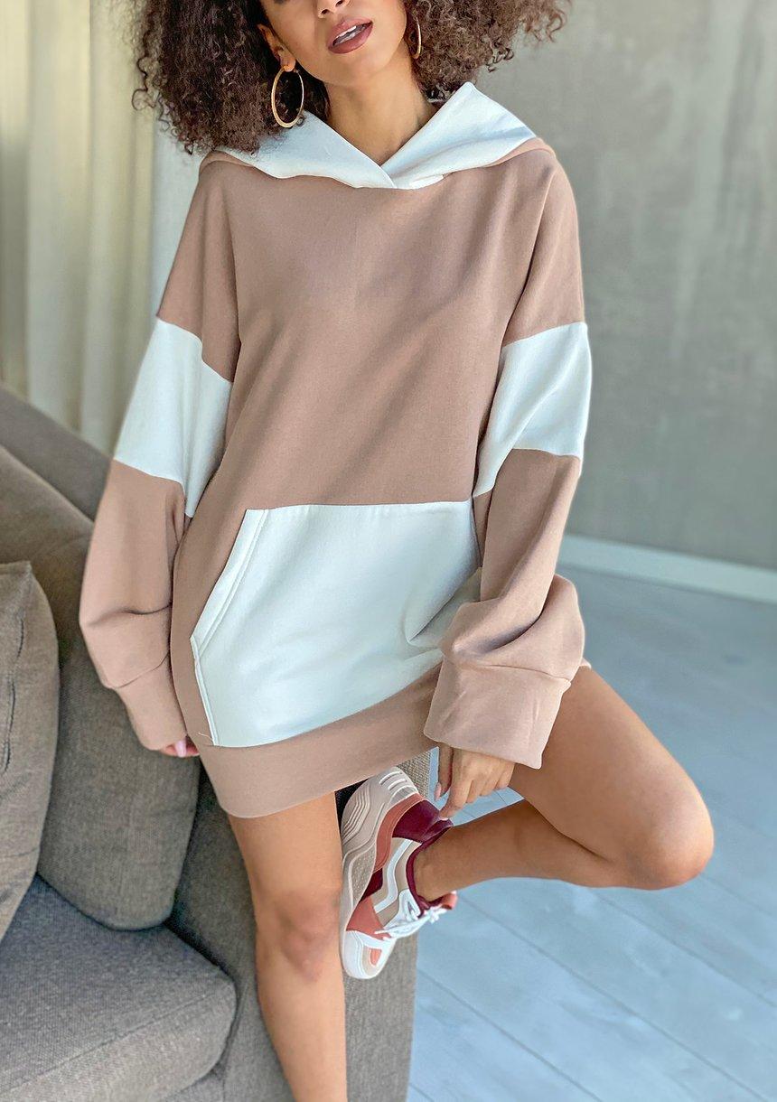 Oversizowa bluza z kapturem Beżowa ILM