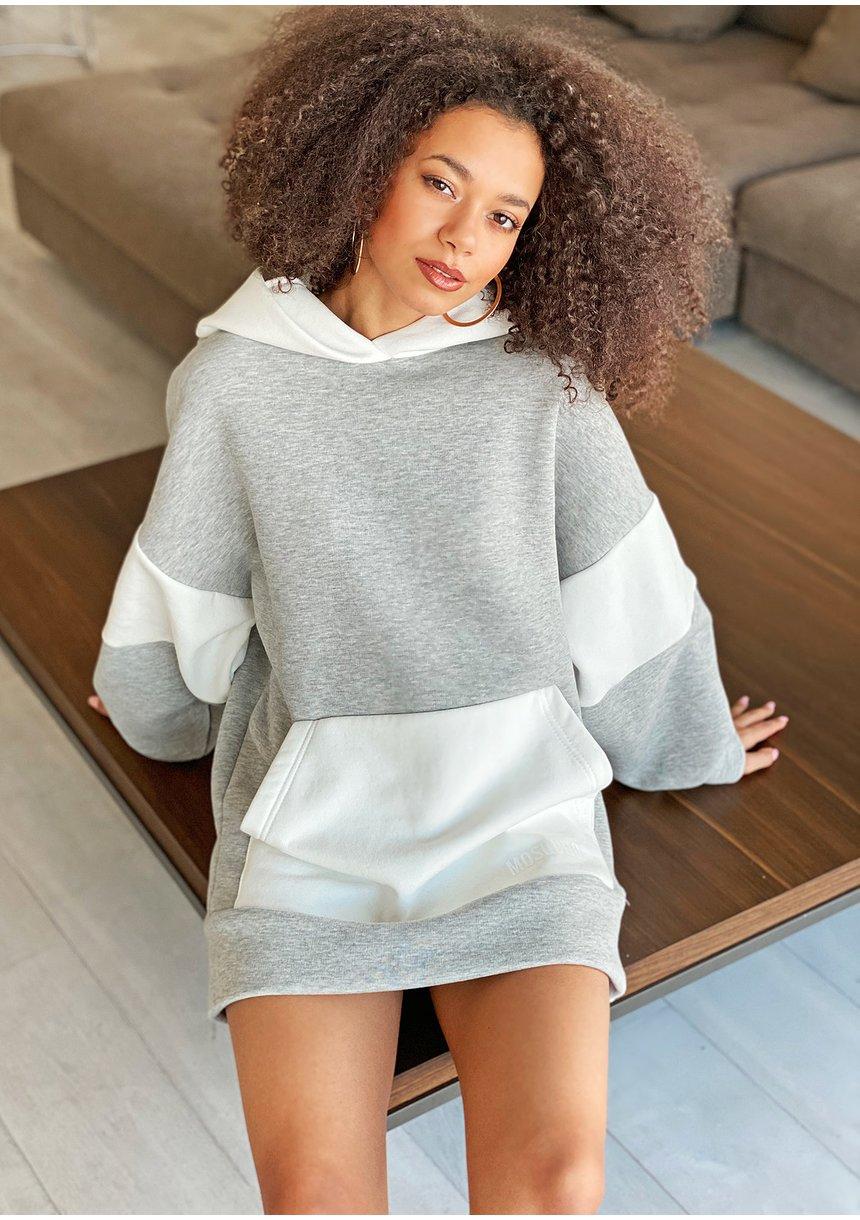Oversizowa bluza z kapturem Szara ILM