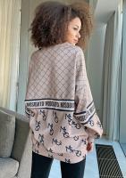 Bluza logo z łączonych printów Beżowa