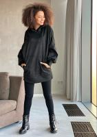 Oversizowa bluz z imitacji zamszu Czarna