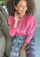 Welurowa bluza z bufką Różowa