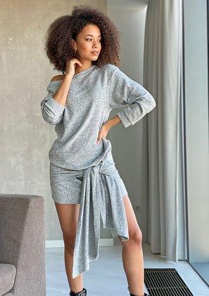 Sukienka swetrowa z wiązaniem Szara