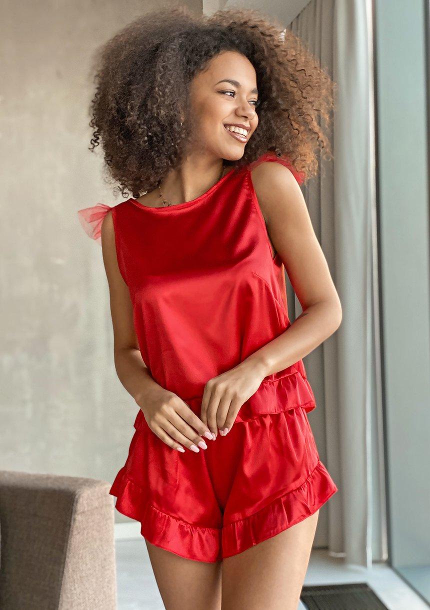 Piżama z satyny Czerwona